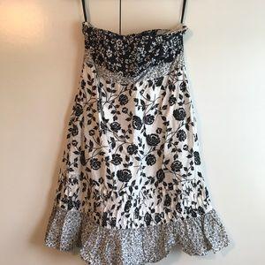 Black and white strapless Loft sundress size 6